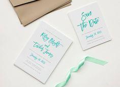 Letterpress - Save the date Letterpress Save The Dates, Letterpress Wedding Invitations, Cascade Design, Brush Type, Invitation Set, Save The Date Cards, Event Design, Wedding Events, Color Pop