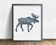 moose woodland nursery rustic art gray by LittleCabinArtPrints