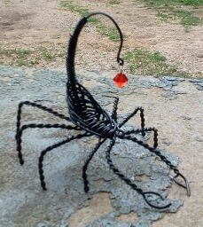 Black wire wrapped scorpion sculpture with by Binkisbling on Etsy, $25.00