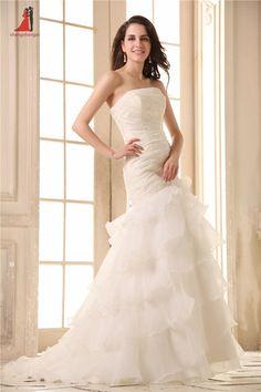 >> Click to Buy << 2017 Elegant Mermaid Wedding Dresses Sleeveless Strapless Appliques Lace Up Bridal Gowns Sweep Train Vestido De Novia  #Affiliate