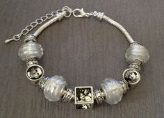 White European Picture Bracelet w/ 3 Picture Beads