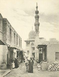 Street Scene and Mosque of Kait Bey (Qaitbay), Cairo, Egypt - c.a. 1934