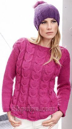 Розовый пуловер с косами спицами Pull Crochet, Knit Crochet, Sweater Weather, Jumper, Knitting Patterns, Sweaters For Women, Pullover, Stitch, Womens Fashion