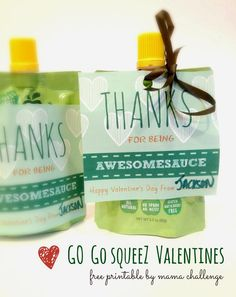 Go Go squeeZ Applesauce Valentines - 'Thanks for Being Awesomesauce' {Free Printable} - MamaChallenge.com | Autumn Rose Reo