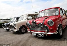 'Hang on, lads, I've got a great idea': How Michael Caine helped restoration of Italian Job Minis Red Mini Cooper, Mini Cooper Classic, Classic Mini, Classic Cars, Minis, Cooper Car, John Cooper, Mini Lifestyle, The Italian Job
