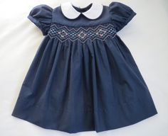 Navy Blue and Pink Hand Smocked Baby Dress. Smocked Baby Dresses, Baby Girl Dresses, Boy Dress, Toddler Girl Outfits, Toddler Dress, Punto Smok, Smocking Patterns, Sewing Patterns, Creation Couture