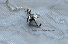 Umbrella Necklace Silver Umbrella Tiny Umbrella Tiny Charm Silver Jewelry Silver Necklace Kitsch Necklace Dainty Jewelry Gift For Teen by uniQue2ChicDesigns on Etsy
