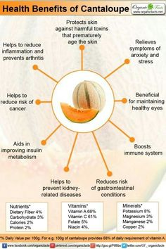 Cantaloupe improves immune system strength, promote healthy skin and eyes, reduce chances of cancer, aid healthy lungs, and decrease stress levels. Cantaloupe Benefits, Fruit Benefits, Health Benefits, Health Tips, Health And Wellness, Vegetable Benefits, Health Facts, Health Care, Prevent Arthritis