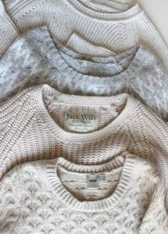 ivory, snow and cream colored cable knits