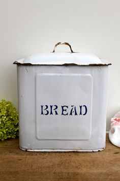 Enamel blue and white bread canister/box by Brimfieldfinds on Etsy, $105.00