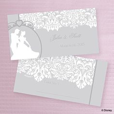 Classic Elegance Place Card with fairytale wedding theme This shimmery place card features Cinderella and her Prince Charming dancing with your first names and date printed on the front and a place to write your guest's name and table number on the back.