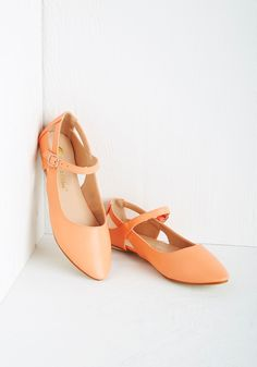 Pittsburgh Ease Flat in Peach. Take to the Steel City streets in bold, bright style with these peach flats! #orange #modcloth