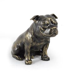 Stafordshire Bull Terrier dog sitting statue by ArtDogshopcenter