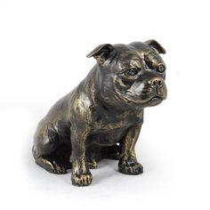Stafordshire Bull Terrier dog sitting statue by ArtDogshopcenter