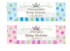 A PRINCE OR A PRINCESS?? NEW LITTLE PINK BLUE PRINCESS PRINCE BABY SHOWER water bottle label wrappers