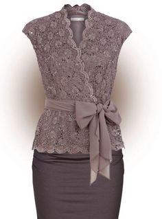 Grey Lace Cap Sleeves Wrap Shirt Belted
