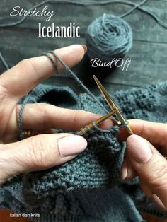 Learn how to knit the Icelandinc bind off. This video tutorial demonstrates how to do a stretchy bind off called the Icelandic Bind Off. This is a perfect bind off when you need a stretchy edge, such as in lace or garter stitch. Bind Off Knitting, Knitting Help, Knitting Stiches, Knitting Videos, Loom Knitting, Hand Knitting, Knitting Tutorials, Knit Stitches, Vintage Knitting