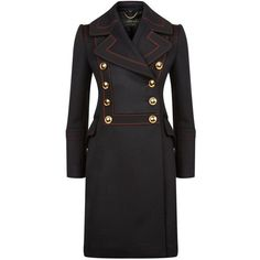 Burberry Runway Contrast Topstitch Military Coat (37.979.605 IDR) ❤ liked on Polyvore featuring outerwear, coats, military field coat, wool cashmere coat, burberry overcoat, double breasted military coat and burberry coat