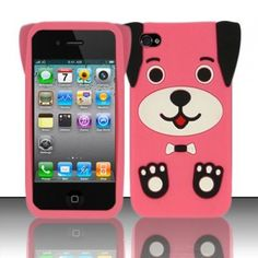 So cute! Pink/ Black Ear Dog Cartoon silicone case here. Your iPhone 4/4S will be outstanding with it!Let's try now!