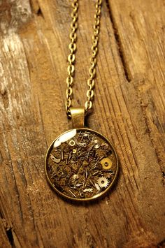 Steampunk pendant with Antique Bronze chain by BluePendulum