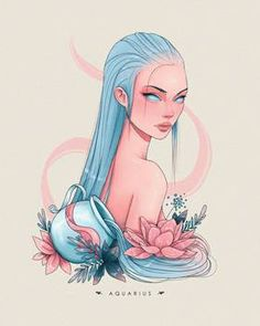 Anime Zodiac, Zodiac Art, Zodiac Signs, Cool Art Drawings, Cool Artwork, Aquarius Art, Zodiac Characters, Moon Art, Pretty Art