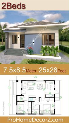 Modern Bungalow House Plans, Bungalow Haus Design, Modern Tiny House, Model House Plan, My House Plans, Simple House Plans, House Design 3d, Hip Roof Design, Two Bedroom Tiny House