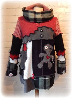 VOODOO Pin Doll Primitive Folk Art Snood Hooded Jumper Sweater with decorative Buttons ReCyCleD UpCyCleD Wearable Art Size: Small / Medium