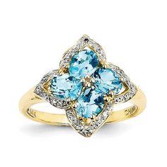 14k Yellow Gold Four Oval Swiss Blue Topaz & Diamond Gemstone Ring 1.77ct
