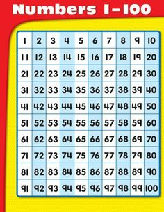 Numbers 1-100 Chart by Carson-Dellosa Publishing. $2.49. Reading level: Ages 5 and up. Publisher: Carson-Dellosa Publishing; Chrt edition (December 19, 2008)