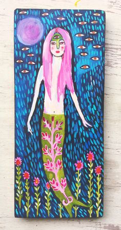 Original acrylic painting on a 5x10 inch piece of reclaimed wood. I used layers of acrylic paint to create rich vibrate color. It is sealed and has a wire hanger.