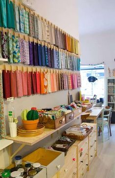 Sewing Room Organization, Craft Room Storage, Fabric Storage, Storage Ideas, Fabric Display, Craft Rooms, Storage Solutions, Organization Ideas, Studio Organization