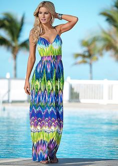 LIME MULTI Vibrant printed maxi dress from VENUS
