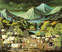 Charles Wysocki, Oklahoma or Bust Illustrations, Illustration Art, Primitive Painting, Naive Art, Aboriginal Art, American Artists, Landscape Paintings, Art Paintings, Photo Art
