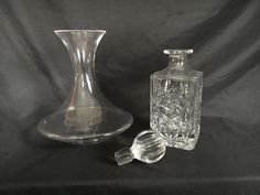 Vintage Square Cut Crystal Decanter w/ Glass Carafe - Beautiful Entertaining Items by OldSchoolUpcycles on Etsy