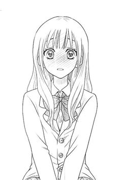 Shared by Saki. Find images and videos about girl, anime and kawaii on We Heart It - the app to get lost in what you love. Anime Drawings Sketches, Anime Sketch, Easy Drawings, Outline Drawings, Pencil Drawings, Anime Chibi, Kawaii Anime, Anime Lineart, Kawaii Girl