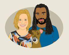 Custom couple portrait Custom Pet portrait Illustration. #weddings @EtsyMktgTool http://etsy.me/2y9USDc #customillustration #engagementgift