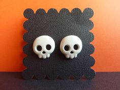 Skull Halloween Stud Earrings Polymer Clay by KristalsKreations20, $6.00