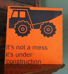 Dump truck sign, kids decor, boys room art, hand painted sign, construction theme, orange and black via Etsy