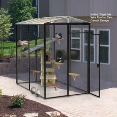 """5x7.5 Foot Sectional Outdoor Cat Enclosure, Cat Condo -  1/2 """" wire spacing.  This would be so freakin' amazing to have for my pet birdies on our back deck."""