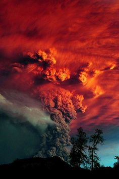 Red smoke at Puyehue volcano eruption, Argentina Allan B