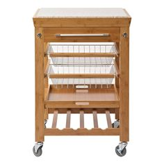 Wood Kitchen Island Cart Bamboo Stainless Set Counter Top Mobile ...