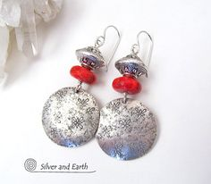 Red Coral Earrings Sterling Silver Earrings Handmade Silver