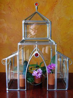 GREENHOUSE TERRARIUM stained glass by creationeuropeenne on Etsy, $165.00