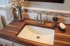 20 Bathrooms With Wooden Countertops - DIY Bathroom Wood Countertop Bathroom, Wooden Bathroom Vanity, Cheap Bathroom Vanities, Countertop Redo, Bathroom Sink Tops, Wooden Countertops, Cheap Bathrooms, Amazing Bathrooms, Kitchen Countertops