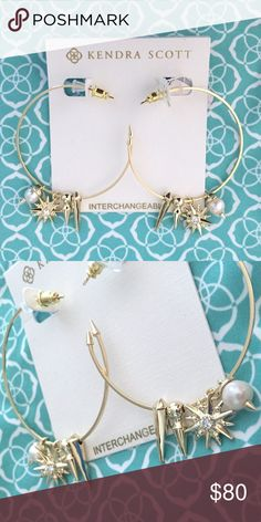 NWT Kendra Scott Cindy Gold Charm Hoop Earring These pretty earrings can be sweet and simple or bold and edgy depending on your mood! Four different shiny gold charms make these delicate hoops fun! Add to your collection or start a new one! Perfect condition, never worn! Kendra Scott Jewelry Earrings