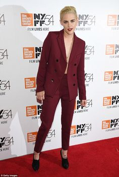 Kristen Stewart suits up in stylish dark red jacket at New York Film Festival premiere | Daily Mail Online