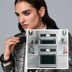 Beauty shot of woman with image of advantium and single wall oven in set French Door Wall Oven, Single Wall Oven, Electric Wall Oven, Frying Oil, Steam Cleaning, Perfect Marriage, Oven Racks, Fresh Vegetables, Food Preparation