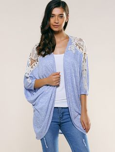 Lace Patchwork Batwing Sleeve Cardigan