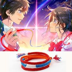 Your Name Kimi No Na Wa Miyamizu Mitsuha Lovers Bracelet Braided Knitted By Hand Rope Chains Kabbalah Bracelets Cosplay Jewelry Metal Color with no buckle Kimi No Na Wa, Anime Cosplay, Mascara Anime, Mitsuha And Taki, Your Name Anime, Shall We Date, Anime Kawaii, Animes Wallpapers, Sword Art