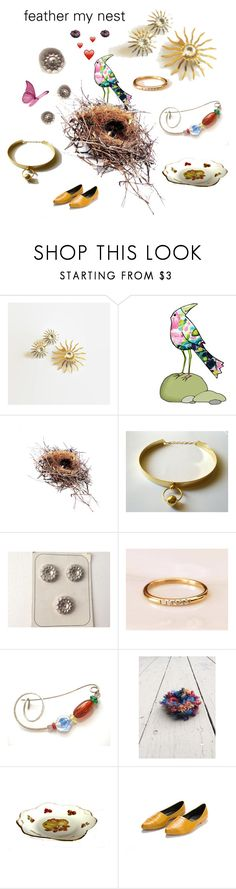 """""""feather my nest"""" by seasidecollectibles ❤ liked on Polyvore featuring Sarah Coventry, vintage, Spring, trends, handmade and etsyevolution"""